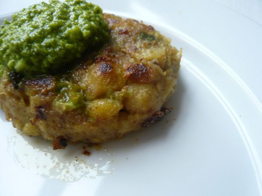Curried chickpea cakes with cilantro coconut chutney