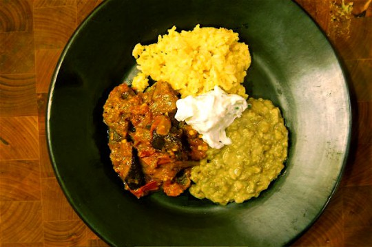 Eggplant curry with mung bean dahl and saffron infused basmati rice