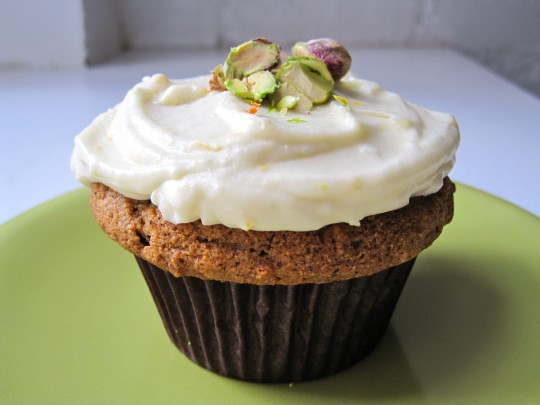Carrot pistachio cupcakes with citrus frosting