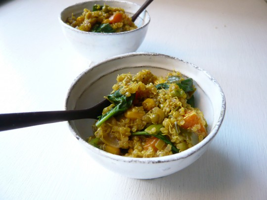 Curried sprouted quinoa pilaf