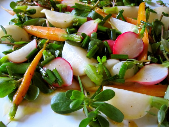 Purslane salad with flax chive dressing