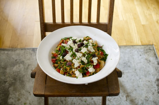 Quinoa with roasted summer vegetables and harissa marinade
