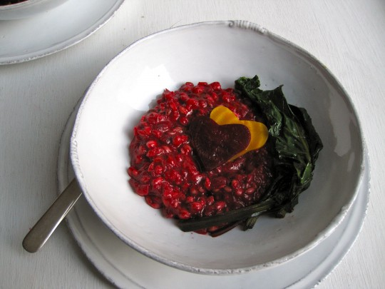 Beet barley risotto with wilted beet greens