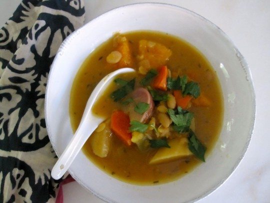 Fall vegetable soup with saffron broth and white beans