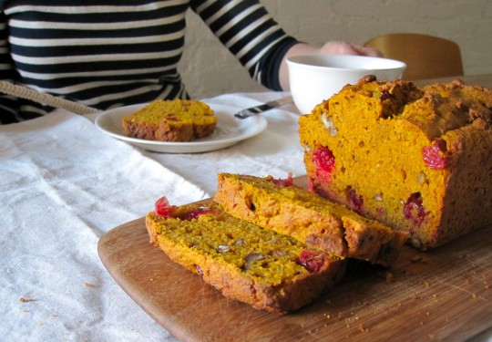 Pumpkin bread with pecans and cranberries