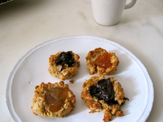 Coconut jam dot cookies