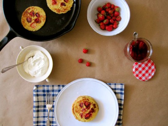 G-Free Friday with Martha Stewart-Strawberry lemon cornmeal pancakes