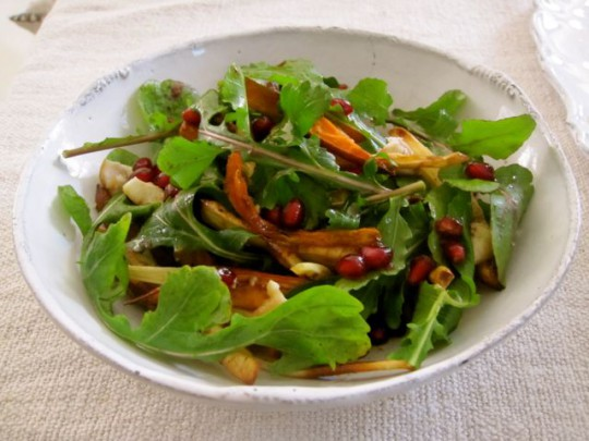 News!… and a root vegetable arugula salad with pomegranate dressing