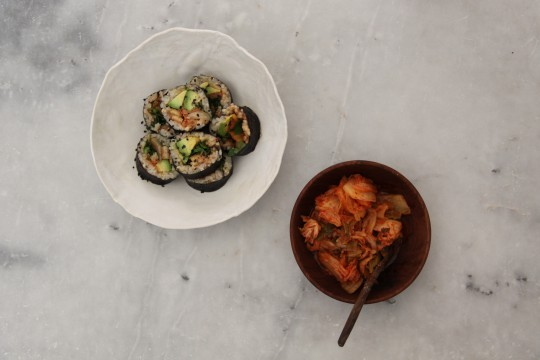 Kimchi, tempeh and avocado nori rolls-Fabulous Fermentation Week