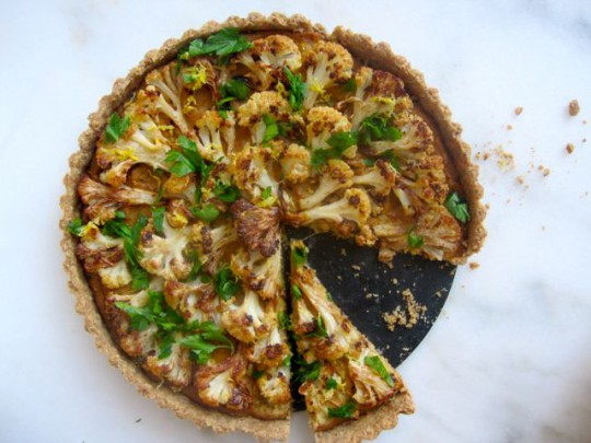 Roasted cauliflower tart with walnut crust and creamy lemon filling