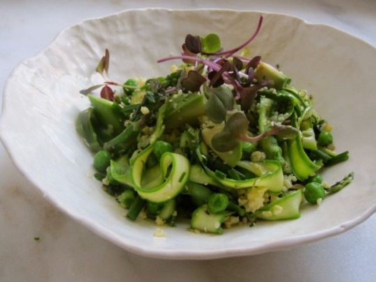 Spring millet salad with tangy seeded flax dressing