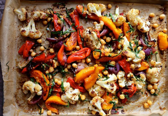 Autumn roast vegetable salad with mustard dressing