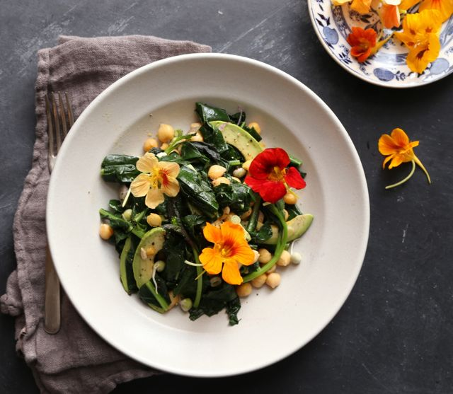 Simple Kale chickpea salad~happy mother's day
