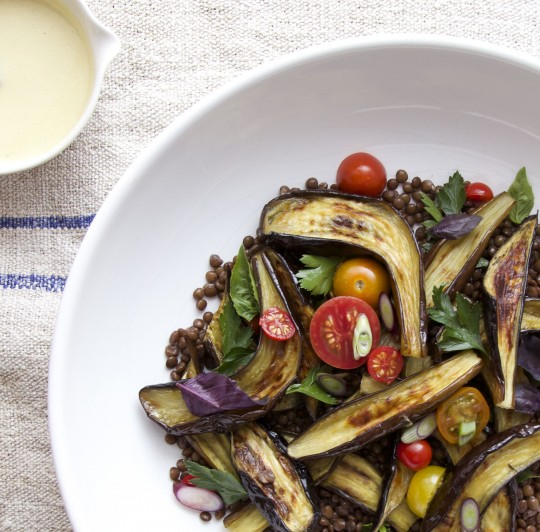 Roasted eggplant salad with tangy miso dressing.