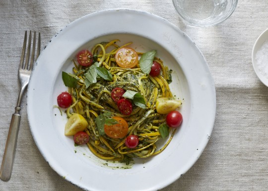 Zucchini noodles with basil walnut pesto and cherry tomatoes