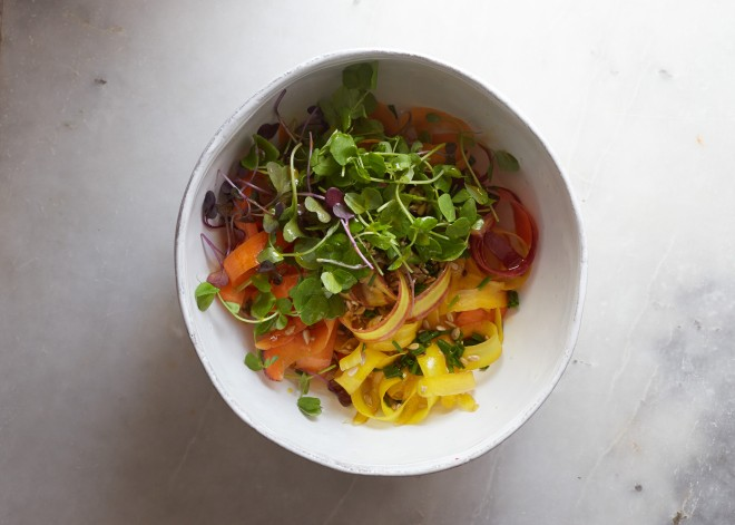 Spring carrot pea shoot salad and a James Beard Award !