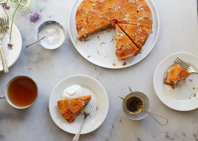 Apricot coconut upside down cake with cardamom