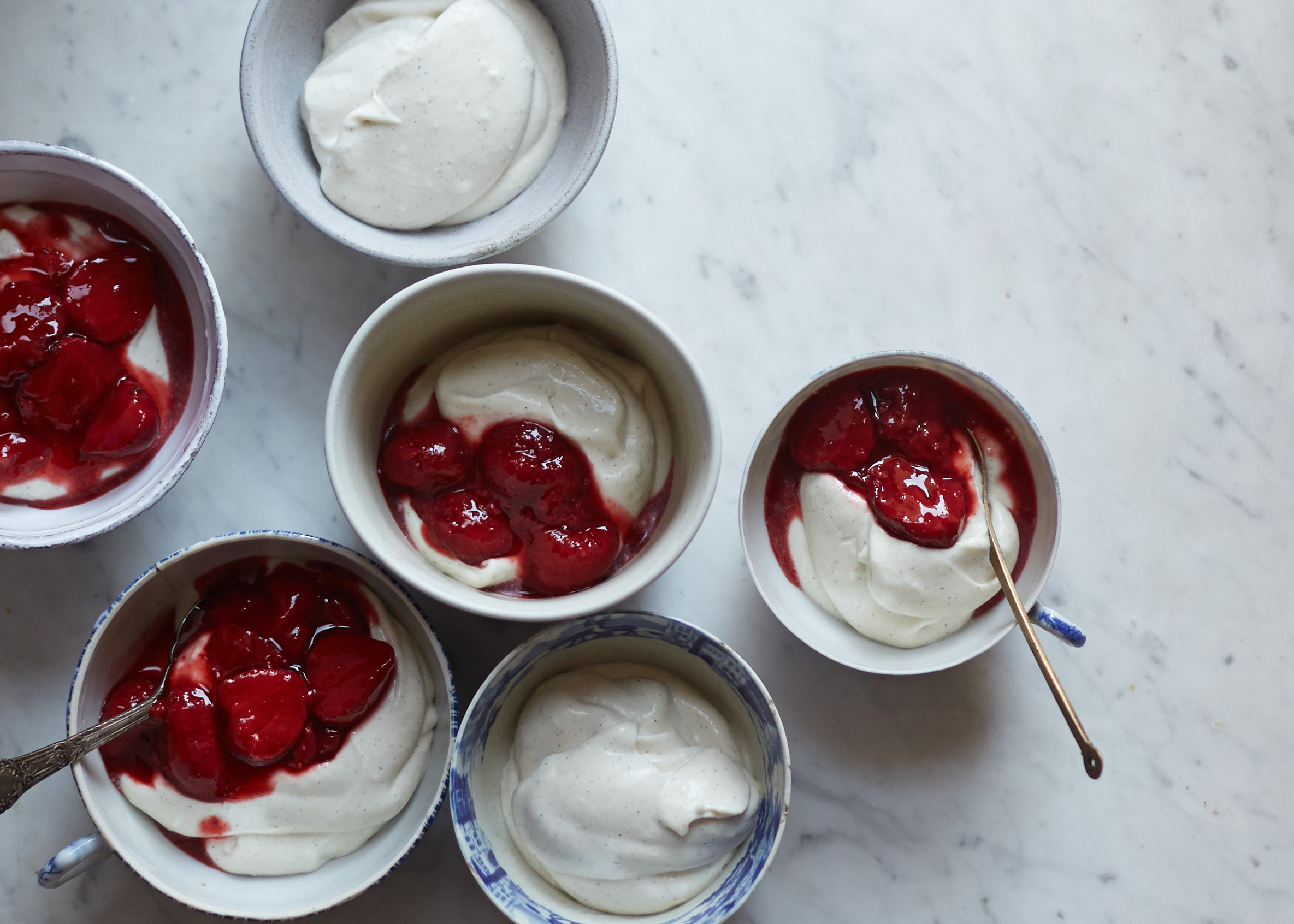 Vegan white chocolate mousse with strawberry compote - Amy Chaplin