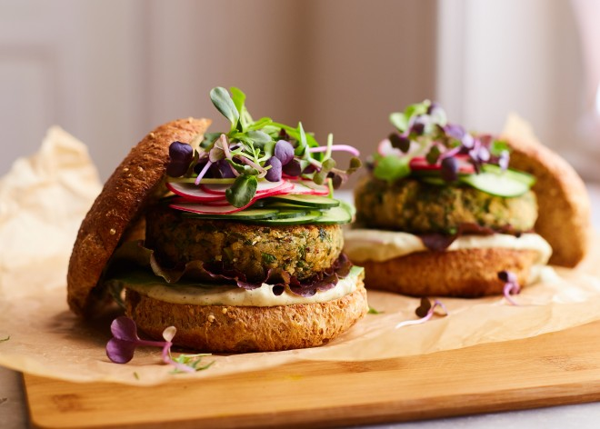 Quinoa white bean burgers with a special sauce